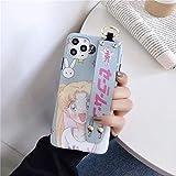 Cute Cartoon Sailor Moon Estuches para teléfono con Correa para la muñeca para iPhone 12 12Mini 11 Pro XS MAX SE X XR 7 8 Plus Funda de Pulsera Suave Mate para iPhone 7Plus Azul Cielo