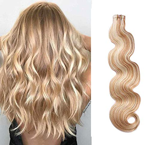 Body Wave Tape in Hair Extensions 20inches Highlights #27 Strawberry Blonde with #613 Blonde Mixed Color 50g 20pcs Remy Seamless Skin Wefts Human hair Glue in Extensions(#27/613)