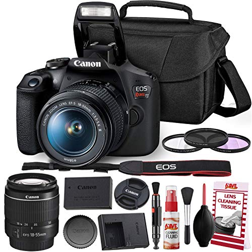entry level slrs Canon Rebel T7 DSLR Camera with 18-55mm Lens Kit and Carrying Case, Creative Filters, Cleaning Kit, and More