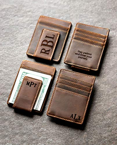 Personalized Leather Magnetic Money Clip The Sanibel by Left Coast Original