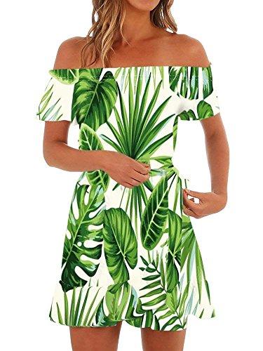 ShallGood Mujer Verano Vendimia Boho Vestido Sin Hombros Estampado Floral Cuello Redondo De Fiesta Playa Cóctel Cintura Alta Sexy Elegante Vestido