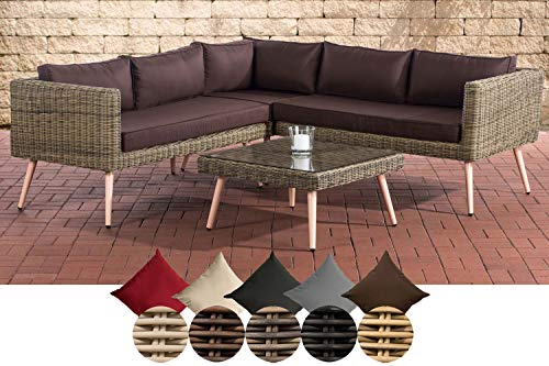 CLP Polyrattan Eck-Loungeset MOLDE I Natura I Gartenlounge Rundrattan I Eck-Sofa + Glastisch I 5mm Rattandicke 40 cm (Hellbraun), terrabraun