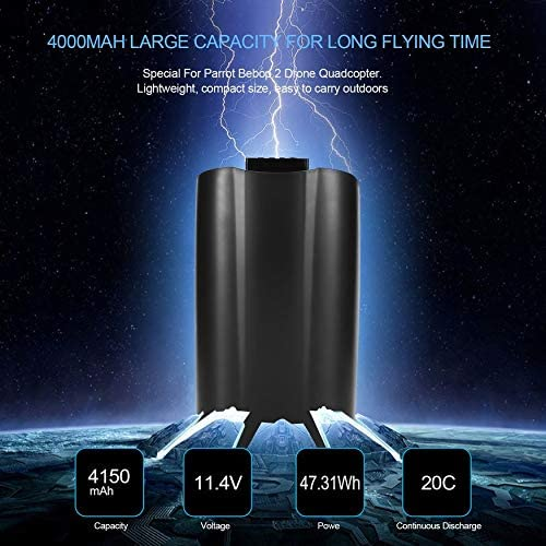 Yaoaomon 11.4V 4150mAh Lipo Batterie Outdoor Drone Backup Batterie für Parrot Bebop 2 Schwarz