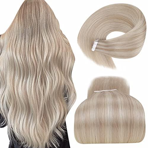 LaaVoo Highlight Echte Haare Haarverlangerung Tapes Blond Double Sided Hair Extension Remy Tape Extensions Echthaar Aschblond Highlighted Gebleichtes Blond 50GR/20PCS #P18/613 14 Zoll/35cm