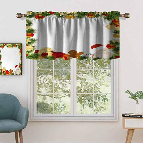 Hiiiman Thermal Insulated Draperies Valance Panel Garland Frame Design with Evergreen Fir Tree Bear Toy, Set of 1, 36'x18' for Living Dining Room Decoration
