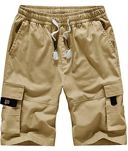 Fanient Herren Kurze Hose Boxing Shorts Boxen Kurze Hose Sport Trainingshose Sporthose Bermuda Chino Shorts Khaki