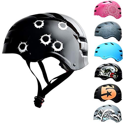 Skullcap® BMX & Skaterhelm - Fahrradhelm - Herren Damen Jungs & Kinderhelm, Bullets, L (58 – 61 cm)