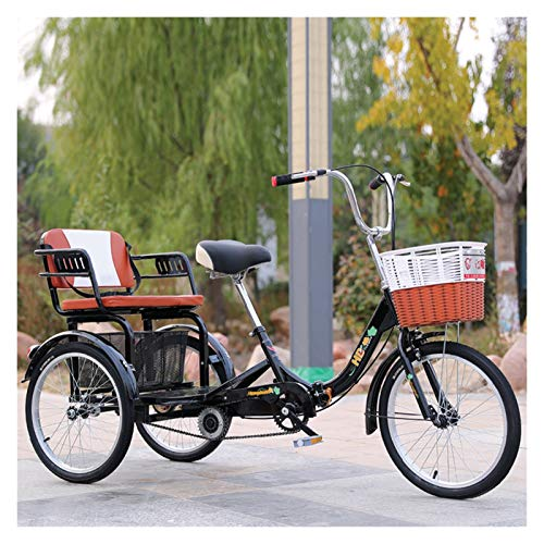SN 20 Pulgadas Plegable Personas Mayores Adulto Bicicletas De 3 Ruedas Triciclo De Crucero Pedal Mano Obra con Cesta De Ejercicio De Compras Y Asiento Trasero (Color : Black)