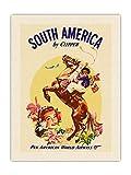 South America by Clipper - PanAmerican World Airways - Gaucho argentino (jinete) balanceando boleadoras – Vintage Airline Travel Poster c.1950s – Tela orgánica RAW 61 x 81 cm