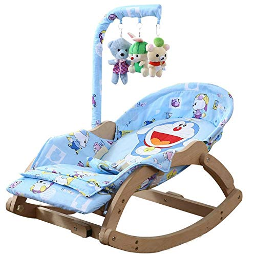 Beech Baby Rocking Chair with Rotating Toy Frame, Foldable 5-Level Adjustable Baby Cradle (Color : 1)