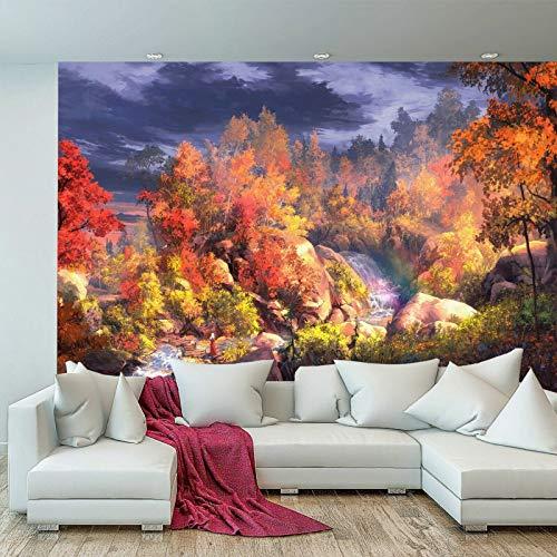 Tapete, Motiv: Bäume, Fluss, Waldpflanzen, Pastelltöne