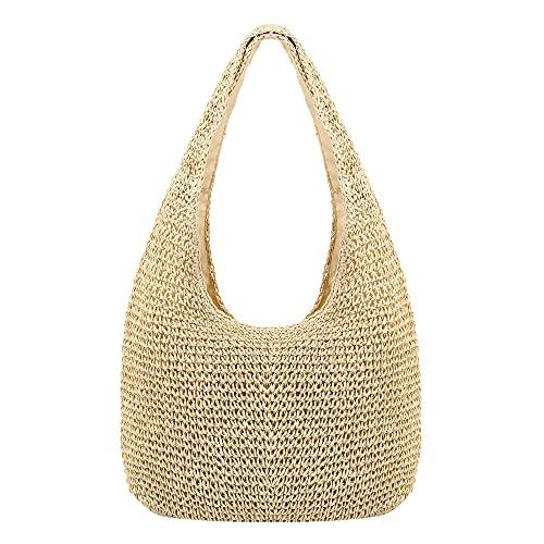 Naimo Women Straw Beach Shoulder Bag Woven Tote Handbag Large Handmade Weaving Summer Casual Hobo Bag
