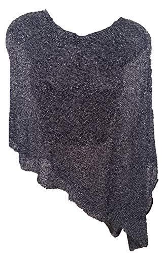 Van Klee Women's 5-Way Lightweight Sheer Knit Metallic Lurex Pullover Poncho Wrap Sweater (Black/Silver)
