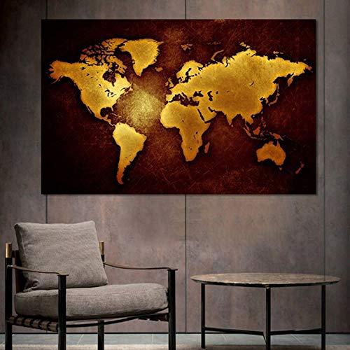 KWzEQ Moderne Plakatschwarzgoldkarte Wohnzimmerhauptdekoration Wandkunst,Rahmenlose Malerei,30x45cm