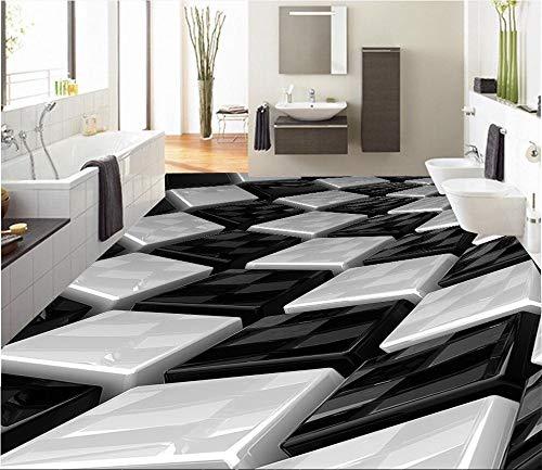 Tapeten Wandbild WandaufkleberBenutzerdefinierte Tapete 3D Schwarz-Weiß Dreidimensionale Box Badezimmer Wandbild Pvc Selbstklebende Wasserdichte Bodentapete, 200 * 140 Cm