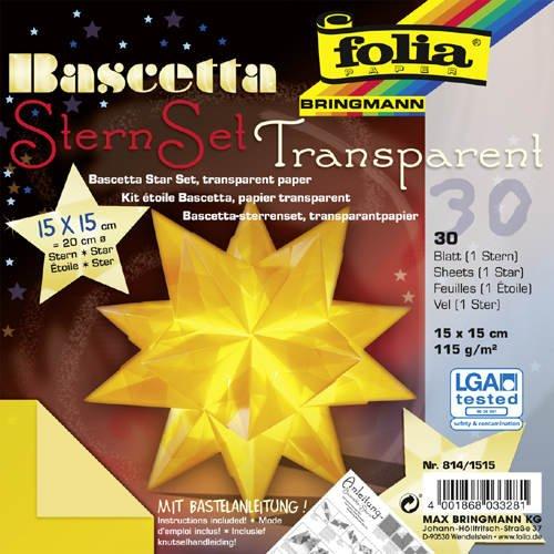Faltblätter Bascetta Stern Transparent gelb, 15x15, - CFO814-1515