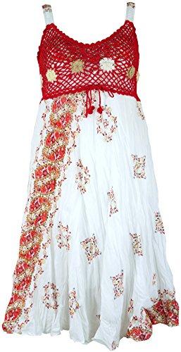 Guru-Shop Boho Minikleid, Sommerkleid, Krinkelkleid, Damen, Weiß/rot/orange, Synthetisch, Size:38, Kurze Kleider Alternative Bekleidung