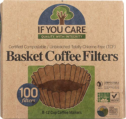 If You Care Coffee Filter Baskets (1x100 CT), Fits 8-12 Cup Drip Coffee Makers