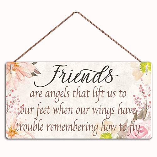 """MAIYUAN Friend are Angels That Lift us to Our Feet When You Wings Have Trouble Sign Home Decor Wood Sign Plaque 10"""" X 5"""" Hanging Wall Art(Qw-156)"""