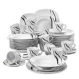 VEWEET Teresa 60pcs Service de Table Porcelaine 12pcs Assiette Plate, Assiette à Dessert, Assiette Creuse, Tasse avec Soucoupes pour 12 Personnes Vaisselles Céramique Design Moderne Ligne Noir