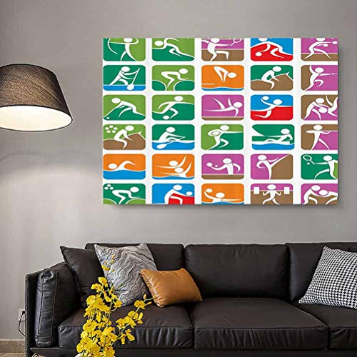 Olympics Decorations wall posters aesthetic Pictograms of the Summer Sports Sailing Wrestling Boxing Fencing Weightlifting Wall Panels For Interior Wall Decor No Frame Green Purple L20 x H40 Inch