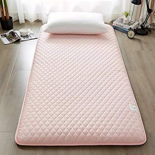 LoveHouse Japanese Traditional Tatami Floor Mattress, Quilted Foldable Futon Mattress Soft Thick Sleeping Pad Camping Portable Guest Bed (pink, 120x200cm(47x79inch))