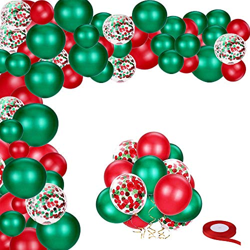 Yiran Red Green Gold Confetti Balloons, 12 Inch Christmas Balloons Garland Arch Kit with Red Ribbon Latex Helium Balloons Confetti Deco Balloons Colorful Balloons Christmas Party Balloons (50 pieces)