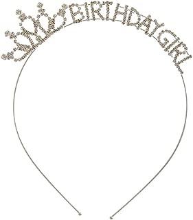 Silver Tone Birthday Girl White Crystal Lined Tiara Headband