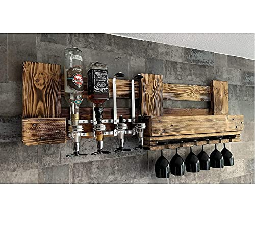 Wandbar Weinregal Personalisierbar mit Getränkespender Terasse Balkon Garten Rustikal Wunschtext Name Whyski Wein Regal Schnaps Palette