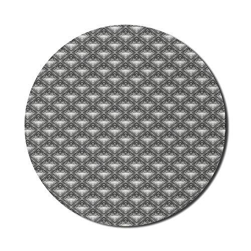 Abstraktes Mauspad für Computer, minimalistische moderne quadratische Mode-Innenstreifenlinien geometrisches Boho Art Deco, rundes rutschfestes dickes Gummi-modernes Gaming-Mousepad, 8 \'rund, schwarz
