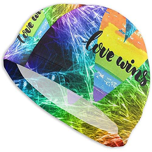 VANOE Swim Cap Gorro de baño para Hombres, Mujeres, Amor, Victorias, Arco Iris, Acuarela, corazón, Gorro de baño para Adultos, Piscina, Cabeza, Cabello, Gorro de baño