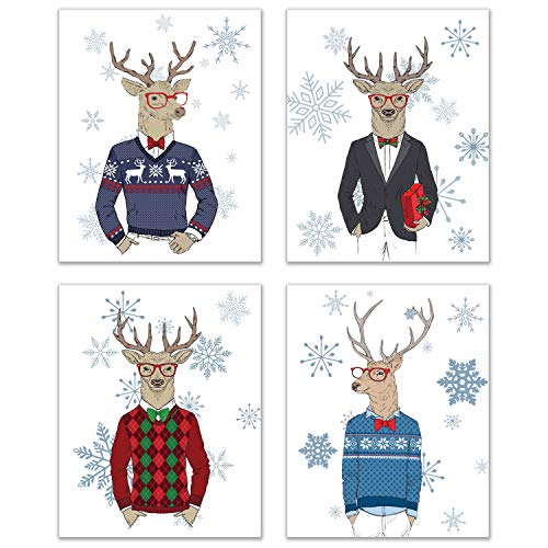 Christmas Hipster Reindeer Prints  Set of 4 8 inches x 10 inches Christmas Holiday Photographs