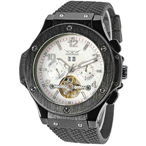 Forsining Men's Automatic Stylish Military Water Resistant Rubber Band Wristwatches JAG228M3B1