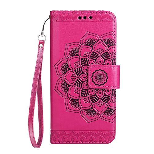 Yheng Huawei P10 Plus Coque, Fleur de Mandala Imprimé Étui Folio à Rabat Housse Cuir Portefeuille Magnétique Wallet Case avec Porte-Cartes Fonction Stand Flip Livre Coque pour Huawei P10 Plus,Rouge