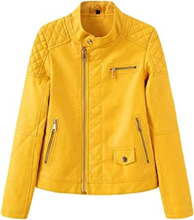 YXHM A Women's Leather Jacket Slim Leather Jacket Retro Motorcycle Leather Jacket Stand Collar Leather Jacket (Color : Lemon Yellow, Size : XL)