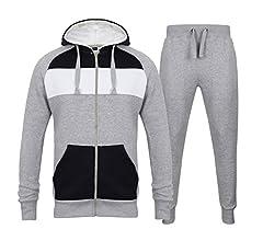 Chándal de forro polar para hombre, con cremallera, capucha, pantalones de chándal, para jogging, de Fabrica Fashion Gris 2 tonos gris. S: Amazon.es: Ropa y accesorios