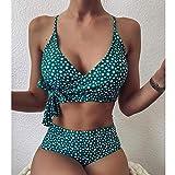 maozuzyy Bikinis Bañador Mujer Conjunto De Bikini con Estampado Bandeau Y Vendaje para Mujer Realce La Ropa De Playa Brasileña Traje De Baño De Dos Piezas Lencería-Verde_S
