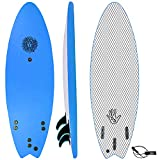 KONA SURF CO. The 5-5 Surfboard for Beginners Kids and Adults - Soft Top Foam Surfboards for Beach – Surf as a Boogie Board Bodyboard or Softboard - Includes Fins and Leash in Royal sz:5ft 5in