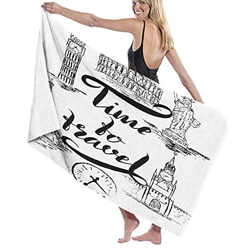 Toalla de Playa de Microfibra de Secado rápido, Torre Eiffel Landmark New York Paris London B, Toalla Suave y Ligera para Acampar, Viajar, Nadar en la Playa, Yoga, Gimnasio, 52 'x 32'
