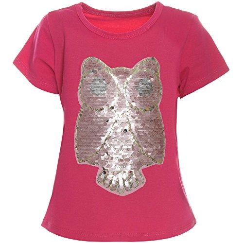 BEZLIT Kinder Mädchen Wende-Pailletten T-Shirt Bluse Kurzarm Sweat Shirt 21256 Pink Größe 128