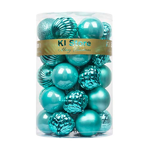 KI Store Christmas Balls Teal Shatterproof Christmas Tree Ball Ornaments Decorations for Xmas Trees Wedding Party Home Decor 2.36-Inch Hooks Included