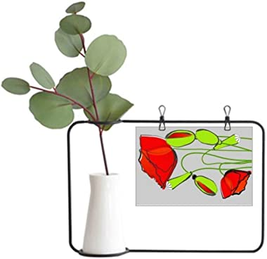 DIYthinker Red Flowers Green Buds Abstract Corn Poppy Metal Picture Frame Ceramic Vase Decor