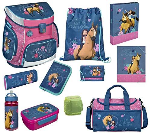 Familando Spirit Pferde Schulranzen-Set 11tlg. rosa blau Sporttasche, Federmappe und Regenschutz Scooli Campus FIT
