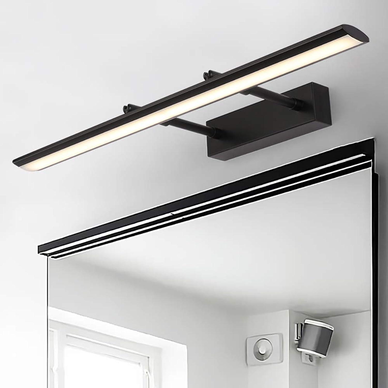 WWLONG Spiegelschrank Spiegel Scheinwerfer LED Badezimmer Ankleidezimmer Moderne minimalistische wasserdichte Anti-Fog einziehbare Spiegelleuchte-schwarz-59cm