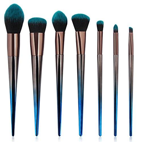 HOLACZES Pinceau De Maquillage Ensemble, 7Pcs Cosmétiques Brosses Prime pour La Fondation Poudre Fard À Joues Correcteur Ombre À Paupières Fibres Synthétiques Soies