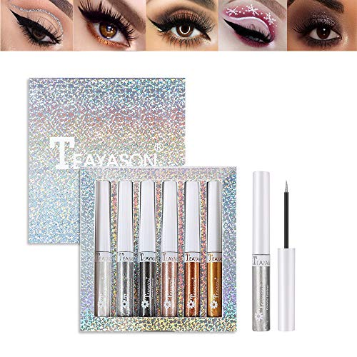 MAEPEOR Glitter Liquid Eyeliner Set 6 Colors Silver Gold Metallic Shimmer Eyeliner Waterproof & Smudgeproof Sparkling Makeup Eyeliner for Daily Wear (Glitter, 6 PCS)