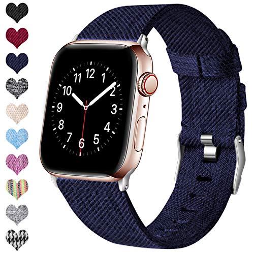 Ouwegaga Kompatibel mit Apple Watch Armband 38mm 40mm 42mm 44mm, Ersatzgewebe Band Nylon Armband Kompatibel mit iWatch Serie 5 4 3 2 1, Navy Blau 38mm/40mm