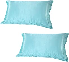 Magideal 2x Silky Soft Satin Standard Pillow Cushion Cover Pillowcase Bed Decor-Blue