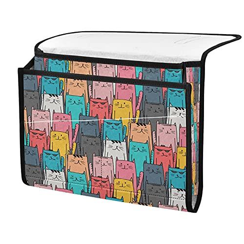 Organizador de almacenamiento para mesilla de noche, colorido animal gato, junto a la caja, organizador de almacenamiento para mandos a distancia gafas de teléfono