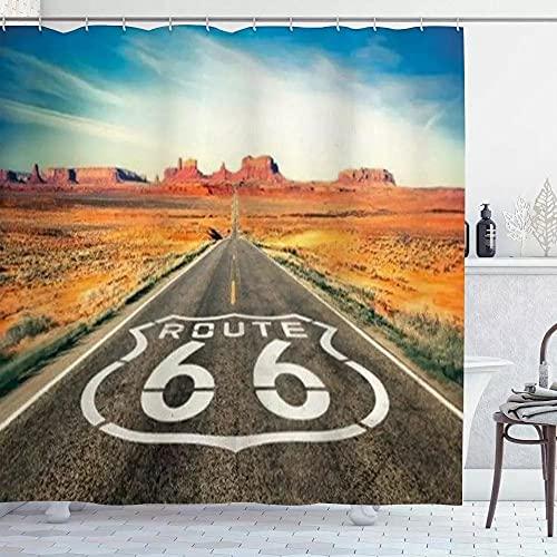 None brand Duschvorhang, Antrieb Historischer Route 66, Wasserdichtes Polyestergewebe Badezimmer Dekor Bad VorhäNge Haken Enthalten-W180xh200cm